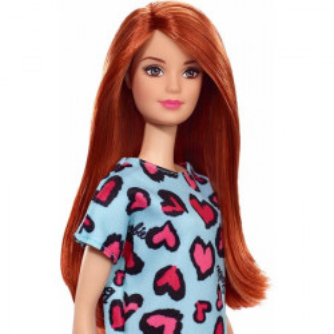Papusa Barbie clasic look, rochie Turcoaz cu animal print, roscata