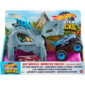 Pista de masini Hot Wheels Truck Pit and Launch Team Mega Wrex cu 2 masinute