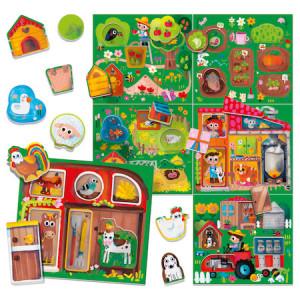 Puzzle Headu Montessori - La ferma, 6 cartonase, 36 forme