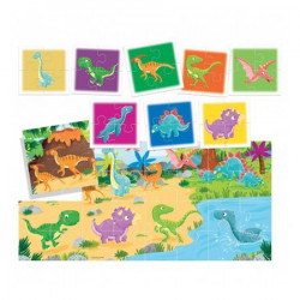 Puzzle Headu Teacher Tested - Dinozaurii, 2 fete, 8+1