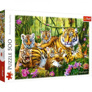 Puzzle Trefl, Familie de tigri, 500 piese