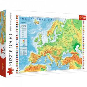 Puzzle Trefl, Harta fizica a Europei, 1.000 piese