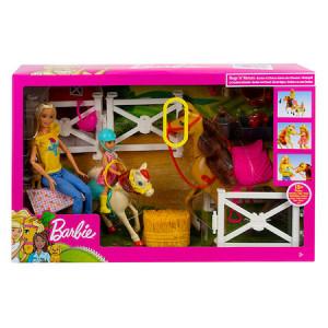 Set de joaca Papusa Barbie cu caluti si accesorii - 16 piese