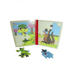 Carticica din lemn animale, puzzle, Ideals Toys, Multicolor