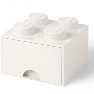 Cutie depozitare LEGO 2x2 cu sertar, alb