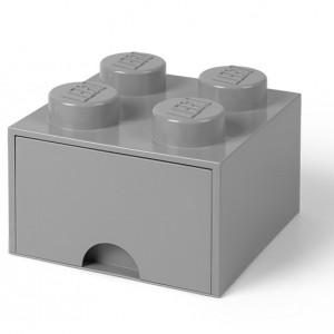 Cutie depozitare LEGO 2x2 cu sertar, gri