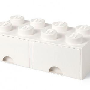 Cutie depozitare LEGO 2x4 cu sertare, alb