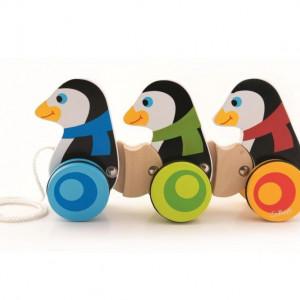 Jucarie de tras Trefl, Pinguini, din lemn
