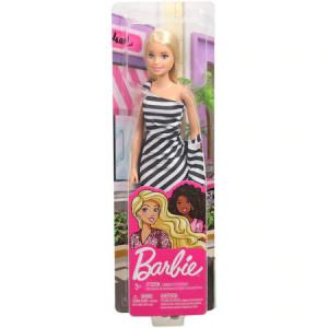 Papusa Barbie - Barbie blonda, cu rochita alb/negru
