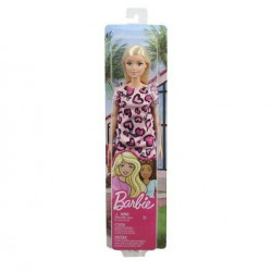 Papusa Barbie clasic look, rochie roz cu animal print