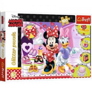Puzzle Glitter Trefl 100piese- Minnie Mouse