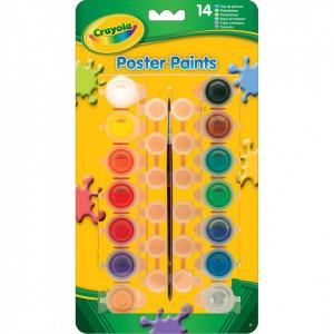 Set 14 acuarele Crayola cu pensula,Multicolor,Lavabile