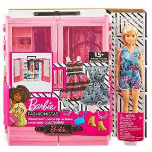 Set de joaca Barbie dulap cu papusa inclusa si accesorii, roz