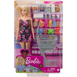 Set de joaca Papusa Barbie la Supermarket, 20 piese
