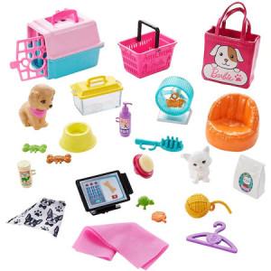 Papusa Barbie blonda cu magazin de animale si 25 de accesorii, 30 cm