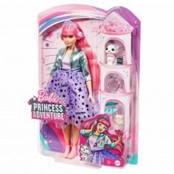 Papusa Barbie Princess Adventure - Printesa Daisy cu par Roz si Pisica