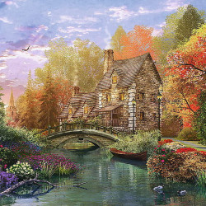 Puzzle Trefl, Casuta de langa lac, 1500 piese