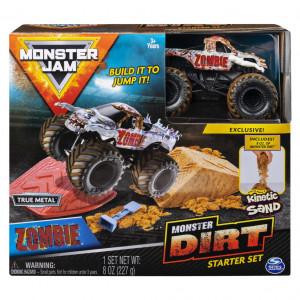 Set Acrobatii Monster Jam cu Nisip Kinetic si Macheta Zombie