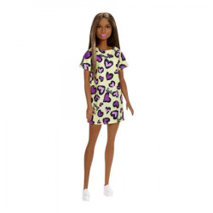 Papusa Barbie clasic look, rochie galbena cu animal print, bruneta