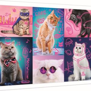 Puzzle Trefl, Super pisici neon, 1000 piese