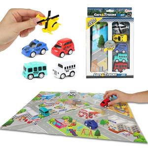 Set Covoras si 5 mini Vehicule Toi-Toys