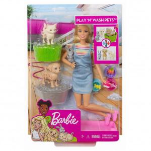 Set de joacă Grădiniţă pentru animale cu păpuşă blondă, Barbie