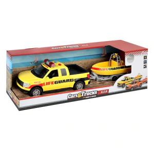 Camioneta cu Barca Toi-Toys cu Lumini si Sunete,LifeGuard