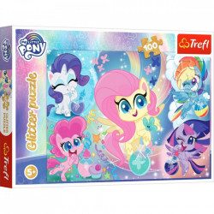 Puzzle Glitter Trefl 100piese- Ponei stralucitori, My Little Pony