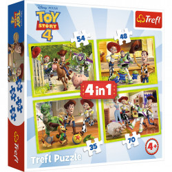 Puzzle Trefl 4 in 1, Toy Story 4, Eroii in actiune