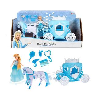 Set Trasura cu Cal Toi-Toys - Ice Princess cu Papusa inclusa