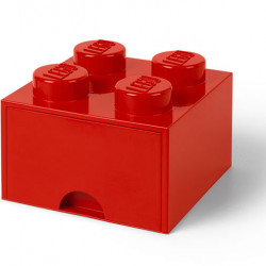 Cutie depozitare LEGO 2x2 cu sertar, rosu