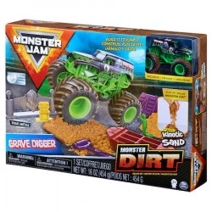 Set Monster Jam - Kinetic Sand, Grave Digger, masinuta cu nisip si accesorii