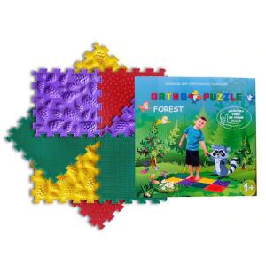 Covor ortopedic pentru copii Forest, Ortho Puzzle, PVC, multicolor