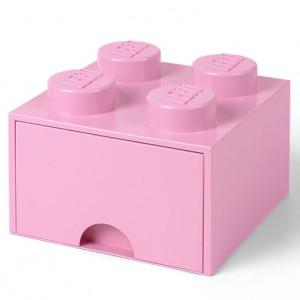 Cutie depozitare LEGO 2x2 cu sertar, roz