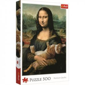 Puzzle Trefl, Monalisa cu pisica, 500 piese