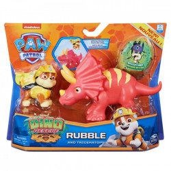 Set 2 figurine Paw Patrol Dino Rescue, Rubble si Triceratops