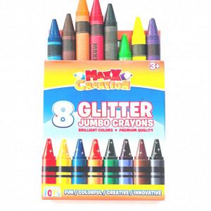 Set 8 creioane Cerate cu Glitter,Jumbo Crayons