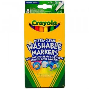 Set 8 Markere Crayola Ultra-Clean Washable,multicolor,cu varf subtire