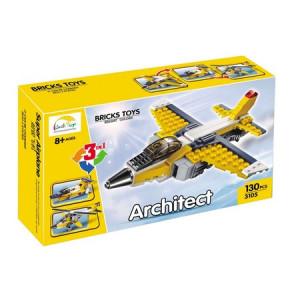 Set constructii 3 in 1 avioane, 130 piese, Galben si gri