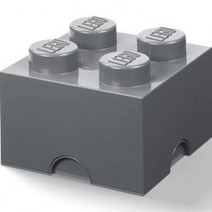 Cutie depozitare LEGO 2x2 gri inchis