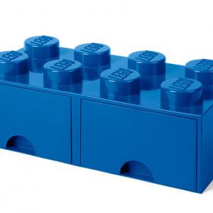 Cutie depozitare LEGO 2x4 cu sertare, albastru