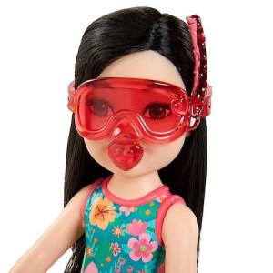 Papusa Mattel Barbie Chelsea cu 6 accesorii, par negru