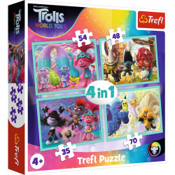 Puzzle Trefl 4 in 1, Trolls World Tour