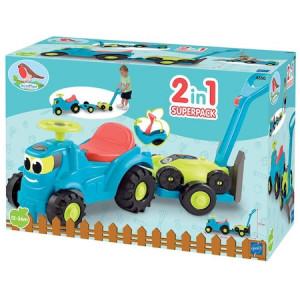 Tractor Ecoiffier cu Remorca si Masina de Tuns Iarba