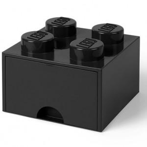 Cutie depozitare LEGO 2x2 cu sertar, negru
