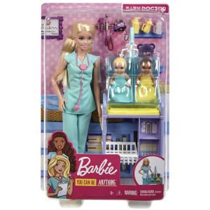 Papusa Barbie Pediatru cu Bebelusii Gemeni