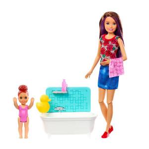 Papusa Barbie Skipper cu Babysitter si Bebelus