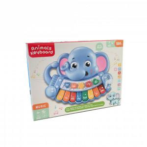 Pianina Cu Lumini si Sunete,in forma de Elefantel,Albastra