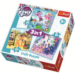 Puzzle Trefl 3 in 1, Little Pony, Ponei fericiti