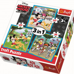 Puzzle Trefl 3 in 1, Mickey Mouse si prietenii, 106 piese